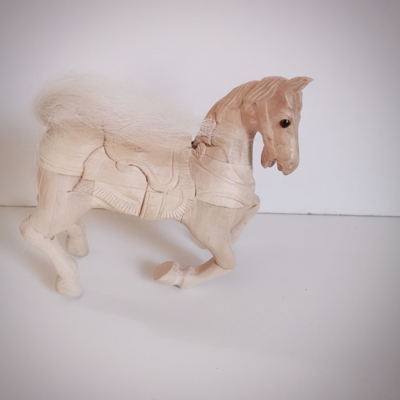 Carved Galloping Wood Horse decor